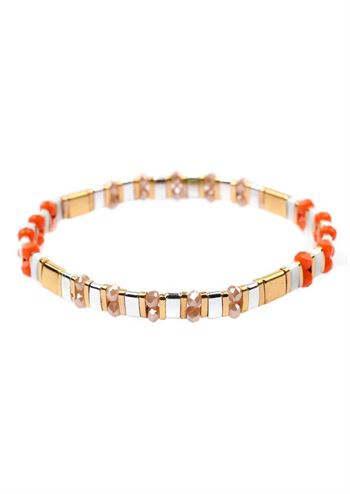 Just D'Lux armbånd glass bead orange guld