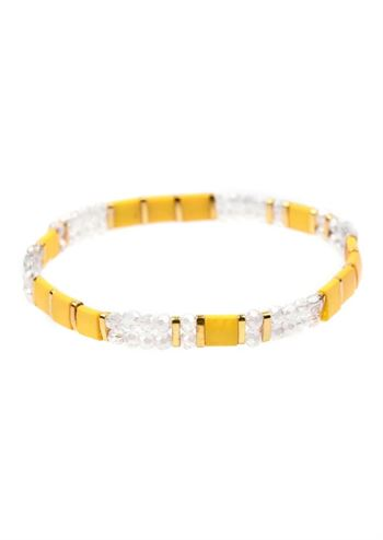 Just D'Lux armbånd glass bead gul