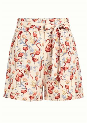 Cremefarvet shorts med flamingoprint fra King Louie